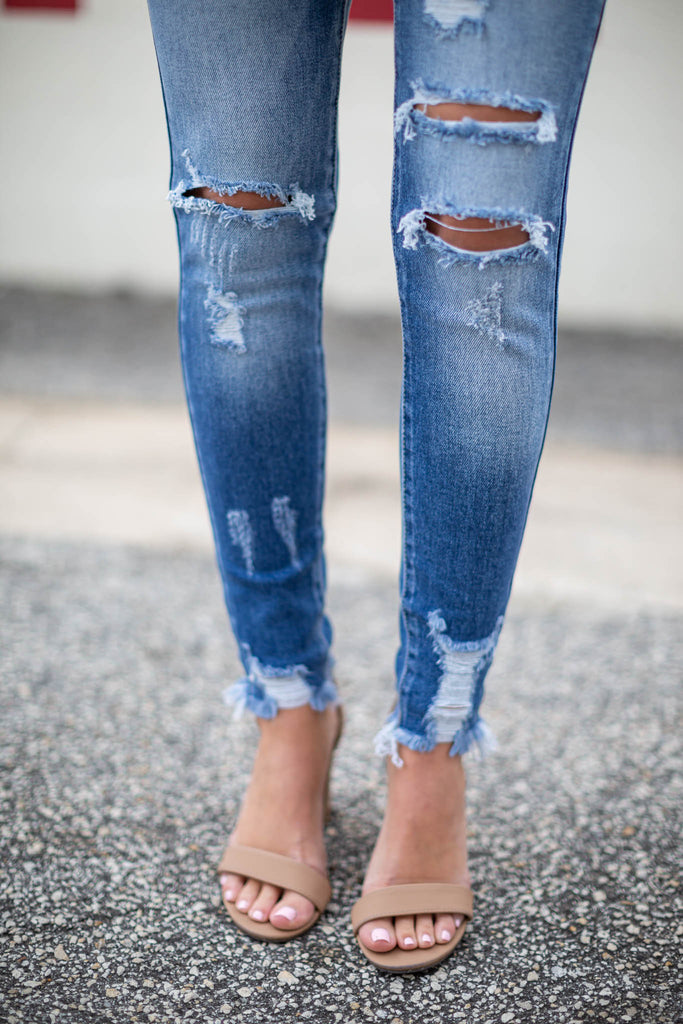 Run This Town Distressed Skinny Jean - A Cut Above Boutique
