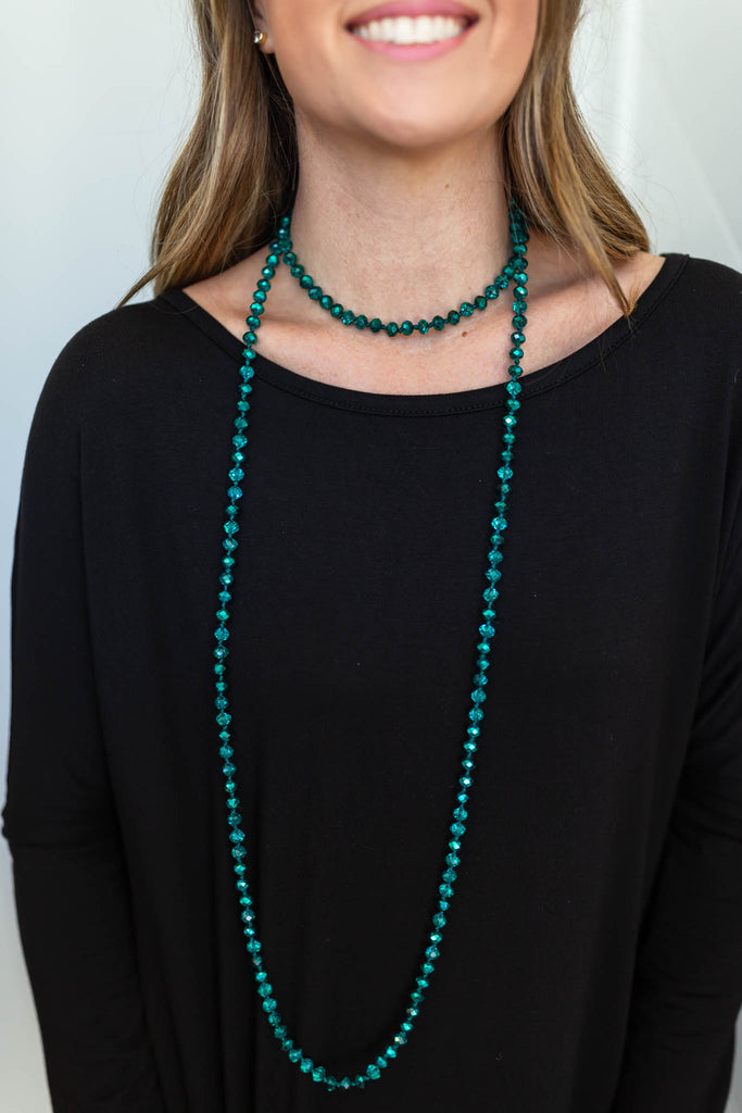 Teal Beaded Necklace - A Cut Above Boutique