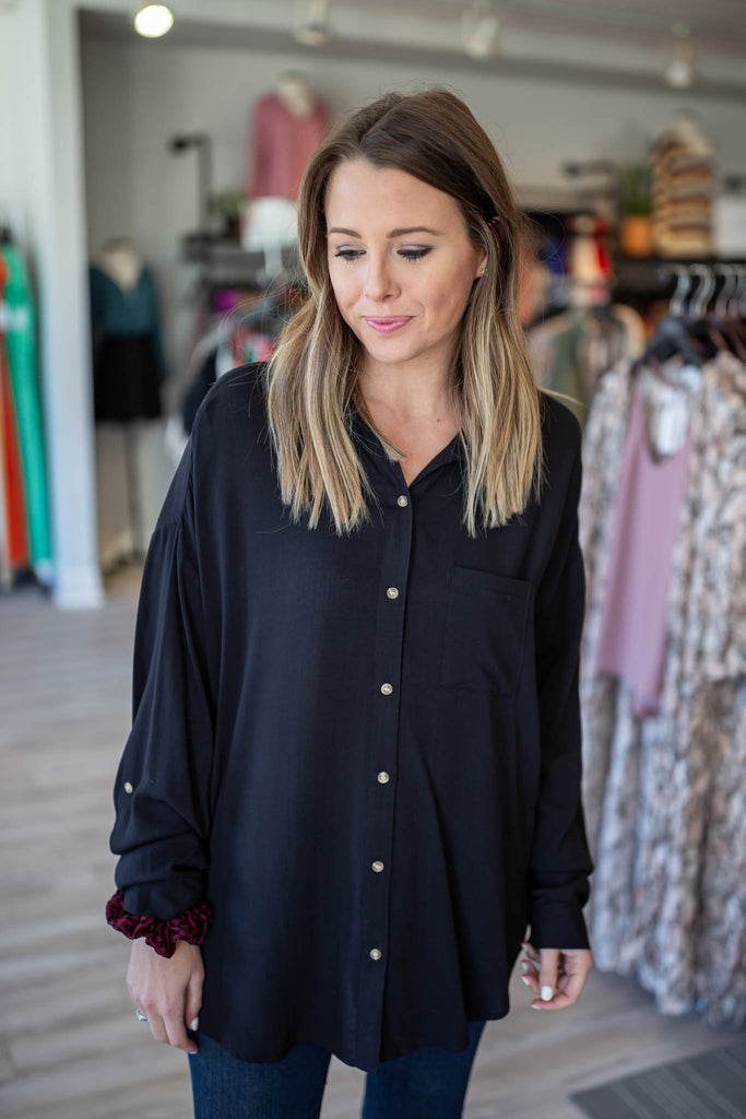 Black It Up Button Down Top - A Cut Above Boutique
