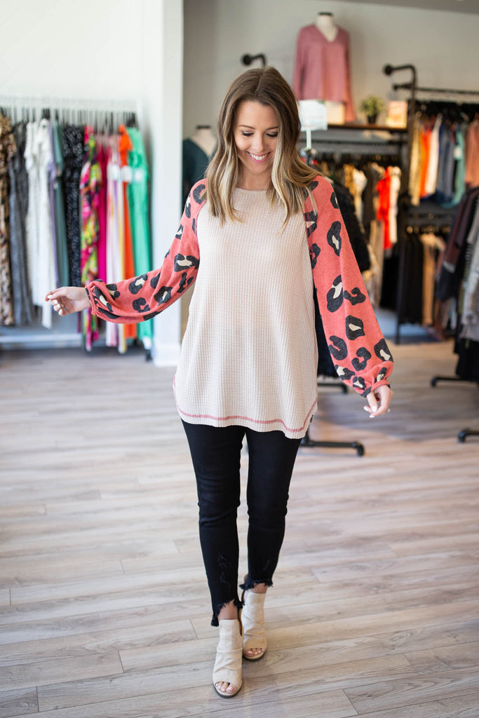 Rock The Leopard Sleeves - Ruby - A Cut Above Boutique