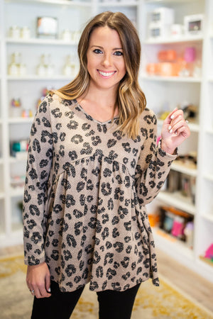So Darling Leopard Peplum Top - Mocha - A Cut Above Boutique