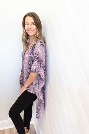 On With It Kimono Blouse - Mauve - A Cut Above Boutique