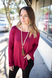 Last Around Dolman Tunic - Burgundy - A Cut Above Boutique