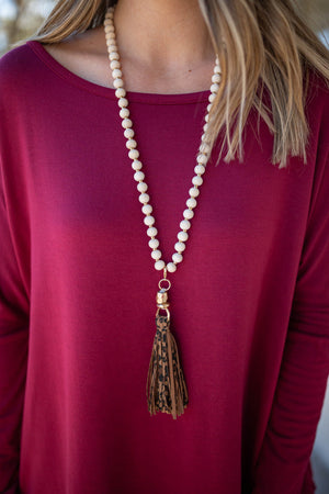 Cream Leopard Tassel Necklace - A Cut Above Boutique