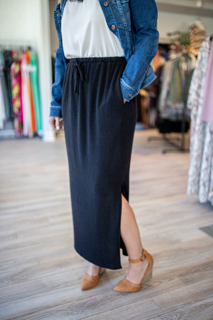 Plush Black Midi Skirt - A Cut Above Boutique