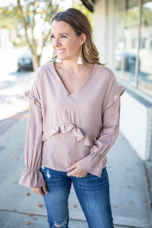 Ruffle Up Peplum Top - Dusty Rose - A Cut Above Boutique