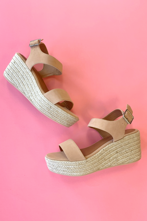 Wish On Platform Espadrille Wedge - Nude - A Cut Above Boutique