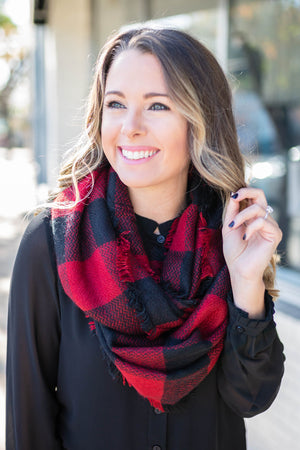 Red + Black Buffalo Check Scarf - A Cut Above Boutique