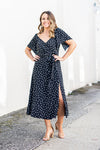 Pretty Thang Polka Dot Midi Dress - Black
