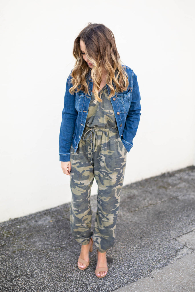 On To It Camo Jumpsuit - A Cut Above Boutique