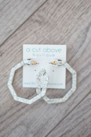Marble Hoop Earring - A Cut Above Boutique