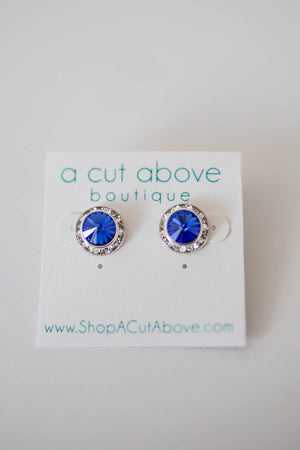 Circle Blue Rhinestone Stud - A Cut Above Boutique