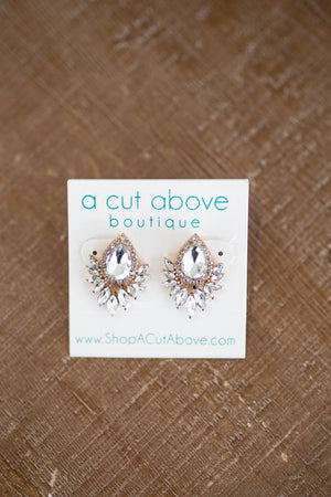 Vintage Rhinestone Stud Earring - A Cut Above Boutique
