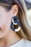 Black + Gold Linked Earrings - A Cut Above Boutique