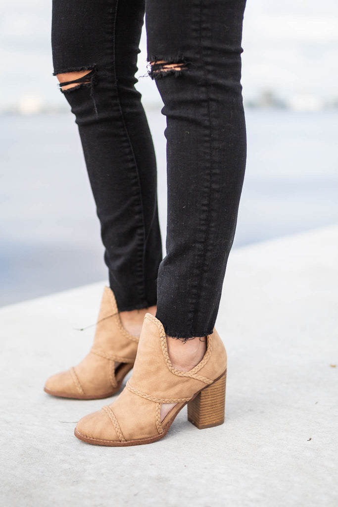Braided Just Right Bootie - Taupe