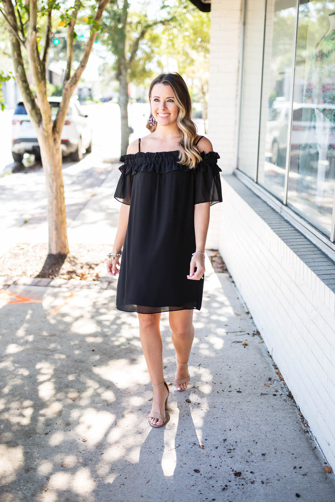 Power Of Me Off The Shoulder Dress - Black - A Cut Above Boutique