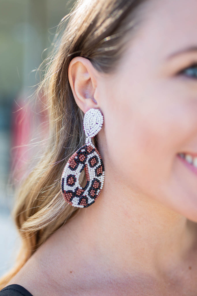 Forever Beaded Leopard Earring - A Cut Above Boutique