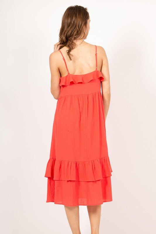 Vaca Is Here Midi Dress - Coral - A Cut Above Boutique
