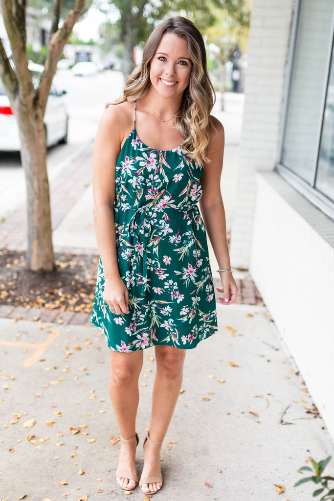 Never To Far Floral Tie Dress - Green - A Cut Above Boutique