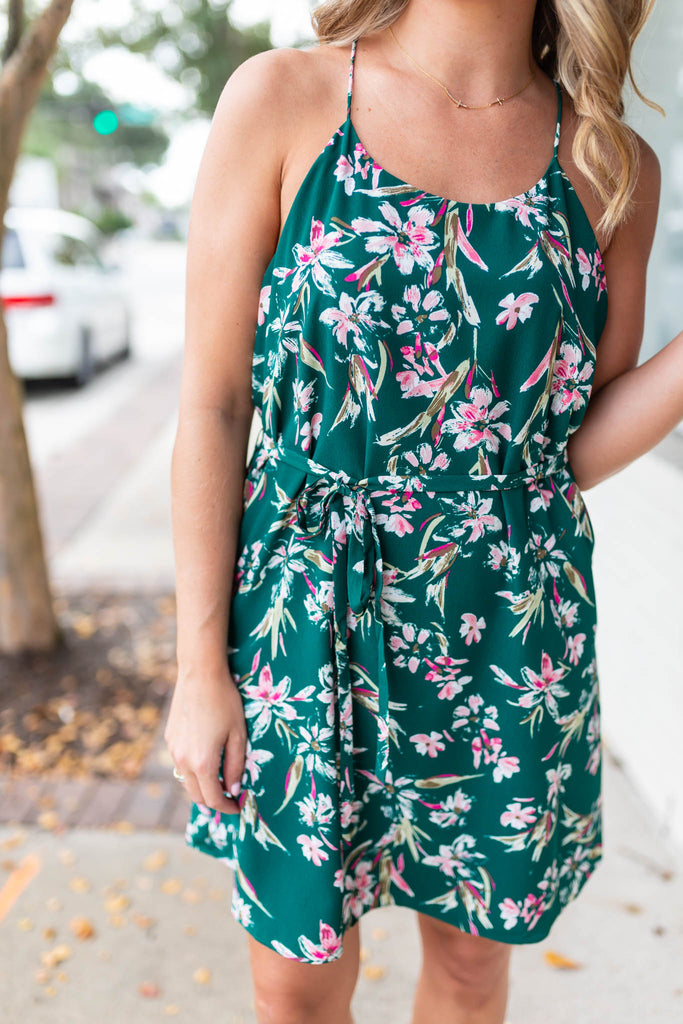 Never To Far Floral Tie Dress - Green