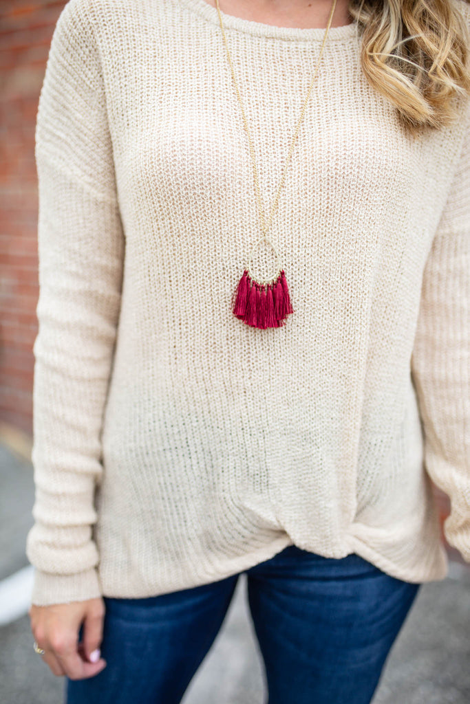 Gameday Tassel Necklace - Burgundy