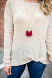Gameday Tassel Necklace - Burgundy - A Cut Above Boutique