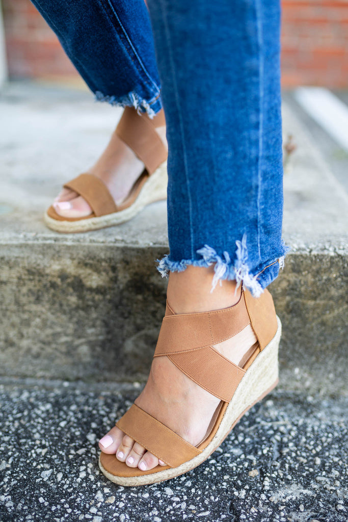 Cross It Espadrille Wedge - Tan