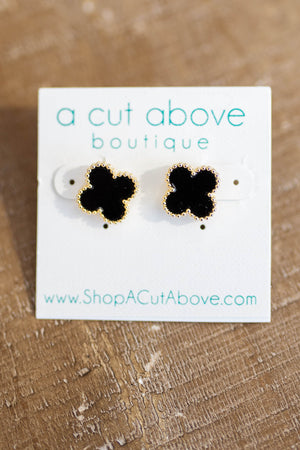 Black + Gold Clover Studs