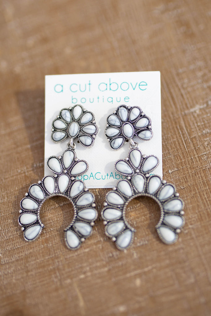 Blossom Earrings - White Marble - A Cut Above Boutique