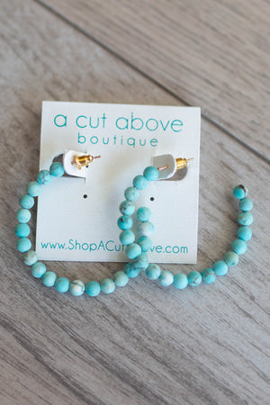 Ball On Turquoise Hoop Earring - A Cut Above Boutique