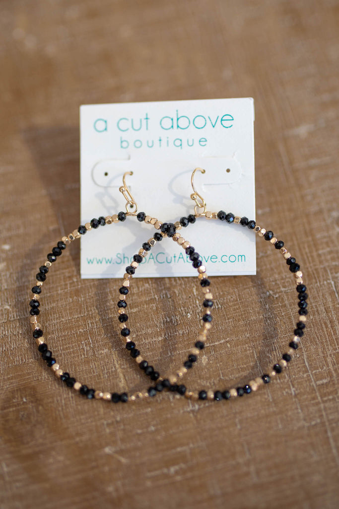 Around We Go Black And Gold Beaded Hoops