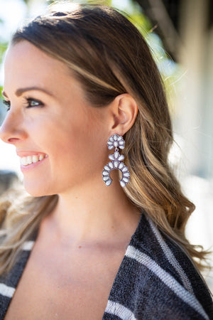 Blossom Earrings - White Marble