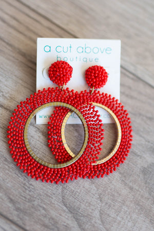 Red Hot Beaded Earring - A Cut Above Boutique