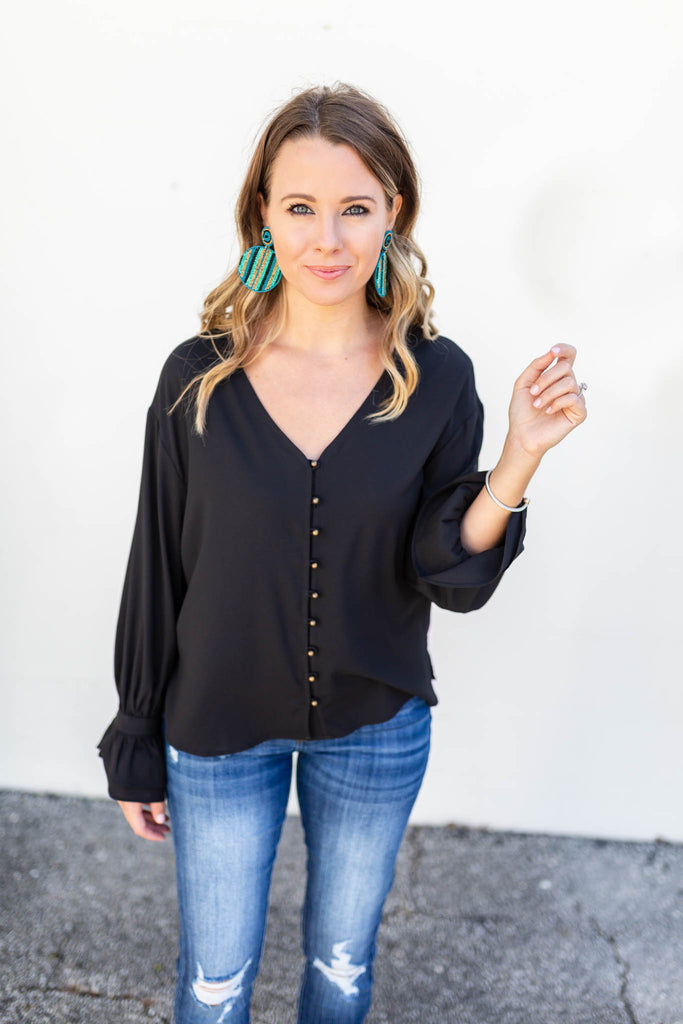 She's Golden Blouse - Black - A Cut Above Boutique