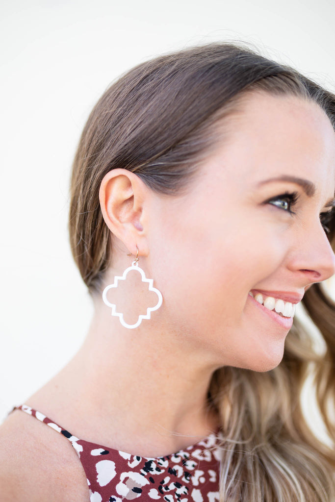 White Quatrefoil Earring - A Cut Above Boutique