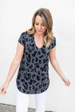 Path Unknown Leopard V-Neck Top - Charcoal - A Cut Above Boutique