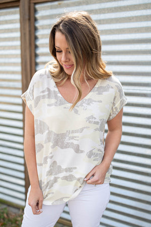 Camo  Lives Dolman Top - Ivory - A Cut Above Boutique