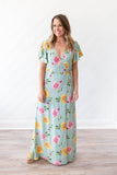 Wrapped Up In Floral Maxi - Mint - A Cut Above Boutique