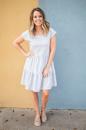 Square It Off Stripe Dress - Gray + White - A Cut Above Boutique