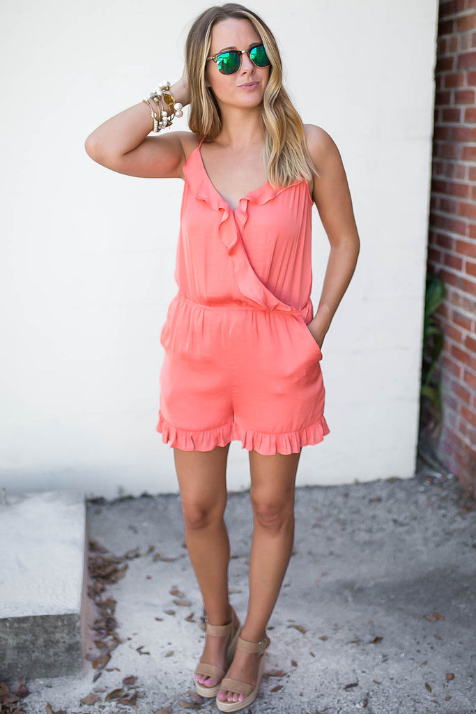 Ruffle Dreams Romper - Coral - A Cut Above Boutique