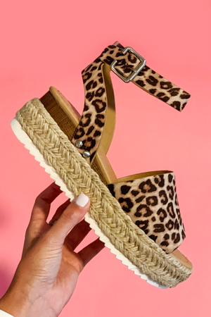 Cheetah Platform Espadrille Sandals - A Cut Above Boutique
