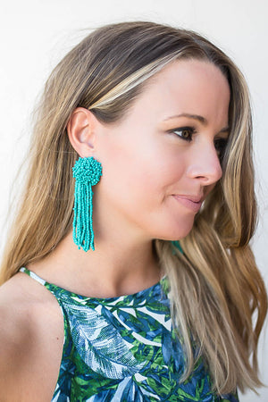 Seed Beaded Tassel Earrings - Turquoise