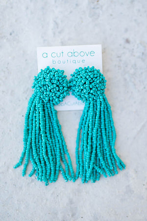Seed Beaded Tassel Earrings - Turquoise - A Cut Above Boutique
