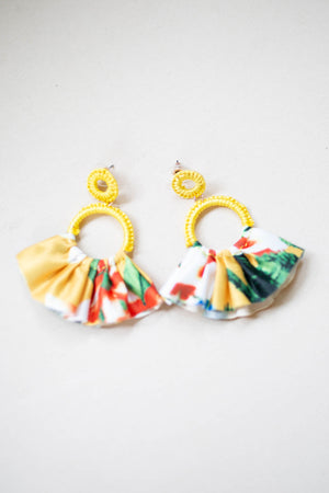 Fan Floral Earring - Yellow - A Cut Above Boutique