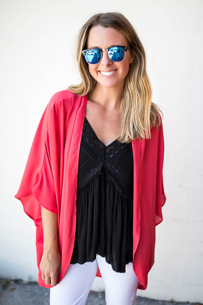 Dance Darlin' Kimono - Coral - A Cut Above Boutique