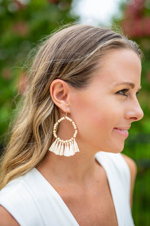 On The Rocks Fringe Earring - Ivory