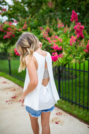 Groove It Open Back Tank - White - A Cut Above Boutique