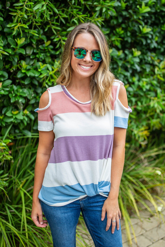 Like It Or Knot Cold-Shoulder Top - A Cut Above Boutique