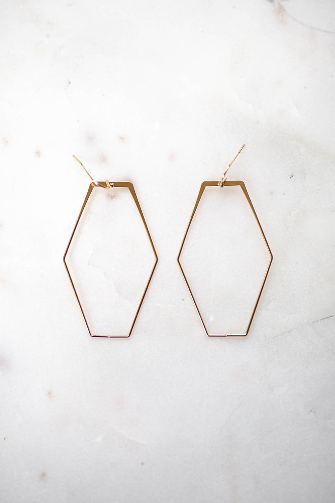 Don't Be Squared Dangle Earring - Gold - A Cut Above Boutique