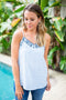 Like It Checked Scallop Tank - Blue